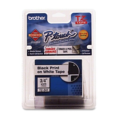 "Brother Laminated Tape Cartridge, For EZ Models, 1/4"", Black/Clear"