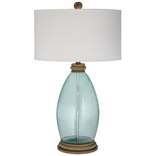 Pacific Coast Lighting Seeded Glass 31 H Table Lamp With Drum Shade Am