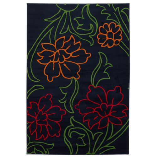Chandra Rugs Dersh Black Floral Rug