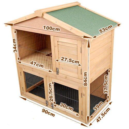 i.Life Double Storey Rabbit Hutch - 100cm x53cm x 105cm