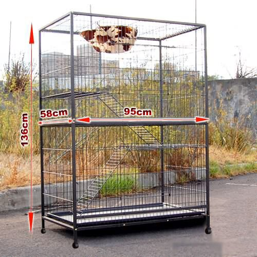 i.Life Multi - Level Pet Cage with Wheels - 93 x 57 x 140 cm