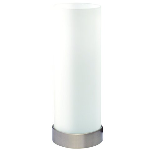 Oriel Lighting Pepe Round Touch Lamp in Opal Matt with Brushed Chrome Base