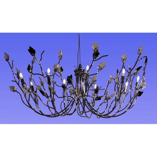 DV Lighting Pendant with Clear and Black Crystal Leaf
