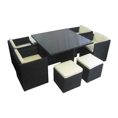Innova Australia 9 Piece Square Glass Top Wicker Dining Set