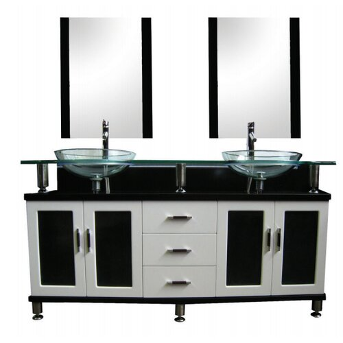 Innova Australia Double Glass Bowl 150cm Vanity Set with Mixers and Mirrors