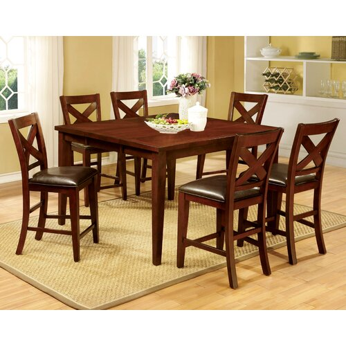 Kroos 7 piece counter height dining set wayfair for 7 piece dining room set counter height