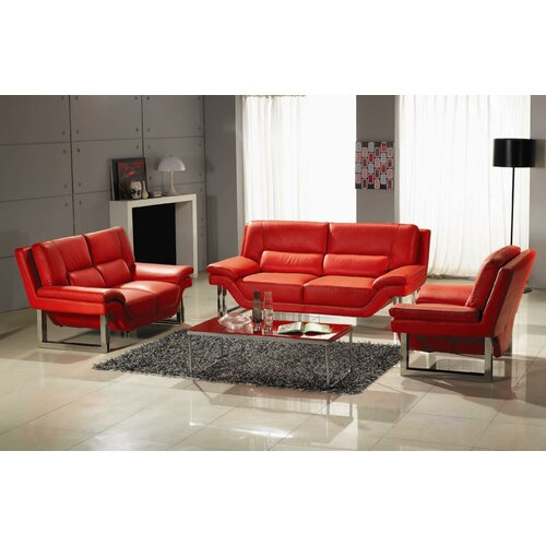 Hokku Designs LA 3 Piece Leather Sofa Set