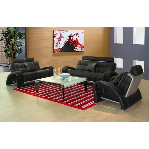 Hokku Designs Arthur 3 Piece Leather Sofa Set