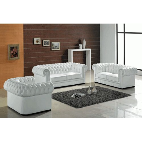 Madeline 3 Piece Leather Sofa Set