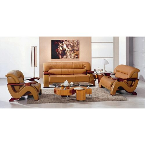 Chrysocolla 3 Piece Leather Sofa Set