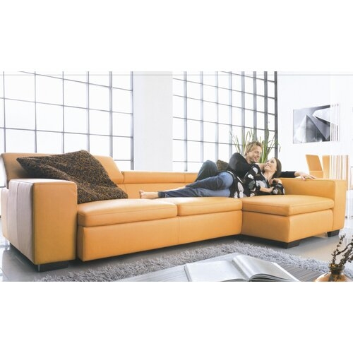 Ever G Left Leather Sectional