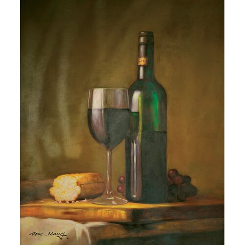 Hokku Designs Wine and Bread Painting Print on Canvas