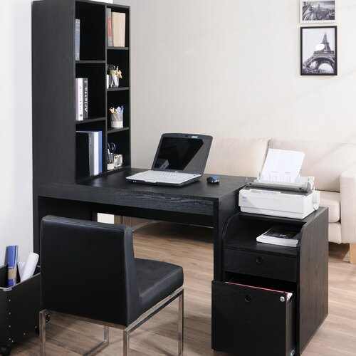 Hokku Designs Concept 2 Piece Modular Computer Desk with Bookcase