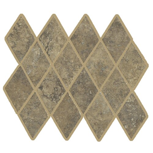 Lunar Rhomboid Mosaic Tile Accent in Walnut