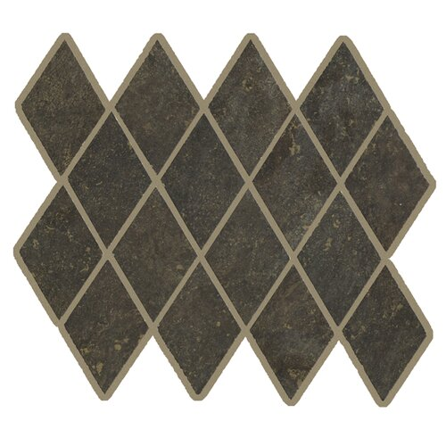 Lunar Rhomboid Mosaic Tile Accent in Graphite