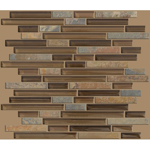 Mixed Up Random Sized Linear Mosaic Slate Accent Tile in Piedmont