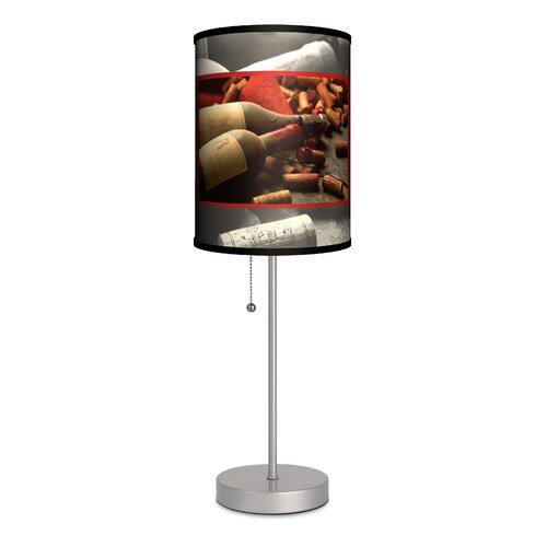 Voyage cork and resin 21 h table lamp with drum shade for Wine cork lampshade