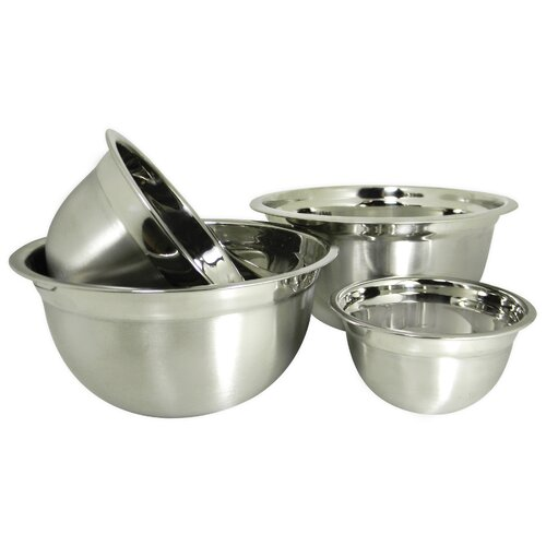 Prime Pacific Euro Style 4-Piece Stainless Steel Mixing Bowl Set