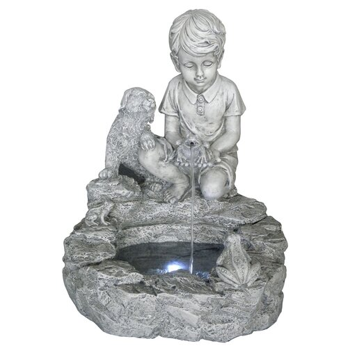 Resin and Fiberglass Boy and Dog Fountain