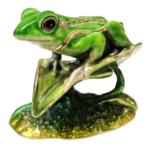 24KT Gold Plated Frog with Black Eyes on Leaf Keepsake Box