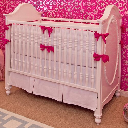 White and Hot Pink 3 Piece Crib Bedding Set