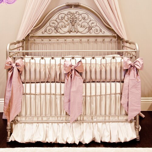 Orchid Lilac Silk 4 Piece Crib Bedding Set