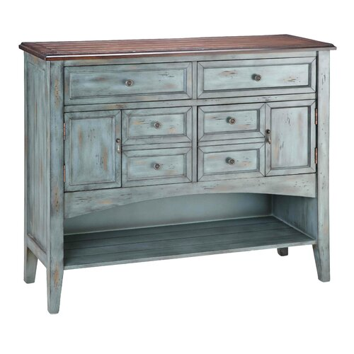 Painted Treasures 2 Door 6 Drawer Accent Moonstone Cabinet