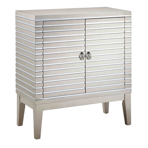 Cosmopolitan Mirrored Strips 2 Door Cabinet