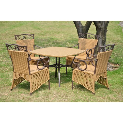 International Caravan Valencia Wicker Resin 5-Piece Patio Dining Set