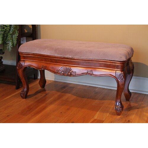 International Caravan Windsor Hand Carved Vanity Bench