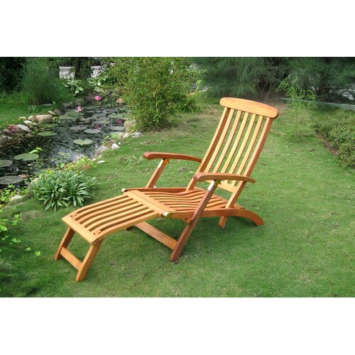 International Caravan Royal Tahiti Balau Folding Patio Steamer Lounge Chair
