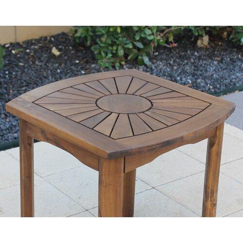 International Caravan Highland Acacia Sunburst Patio Side Table
