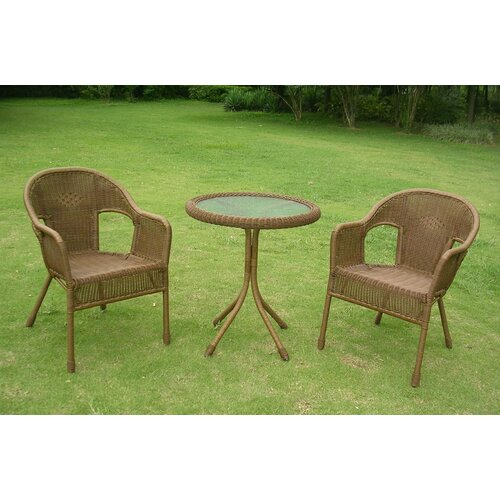 Chelsea 3-Piece Wicker ResinSteel Patio Bistro Set