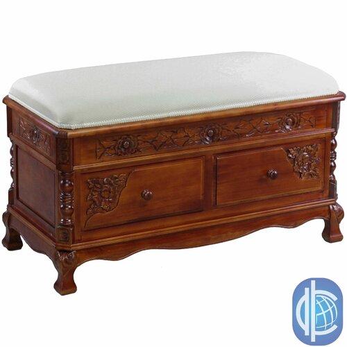 Windsor Hand Carved Wood Storage Bench