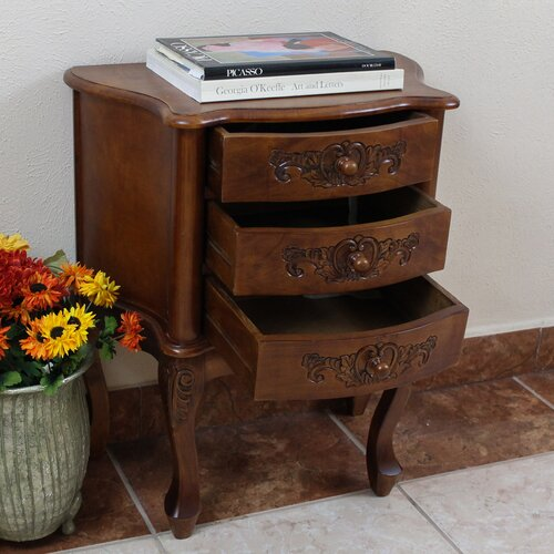 International Caravan Windsor Hand Carved 3-Drawer Night Stand