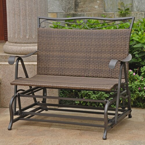 International Caravan Valencia Iron Wicker Resin Patio Glider Chair