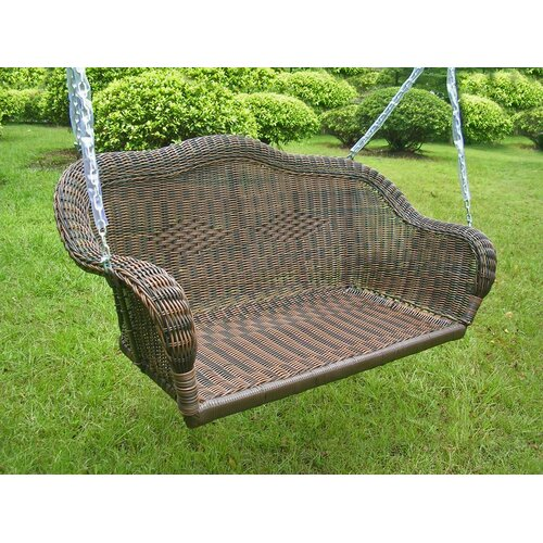 International Caravan Chelsea Wicker ResinSteel Outdoor Porch Swing