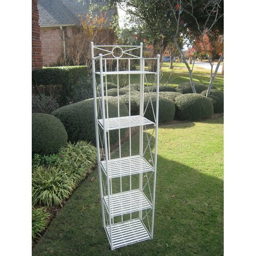 International Caravan Wrought Iron 5-Tier Folding Bakers Rack
