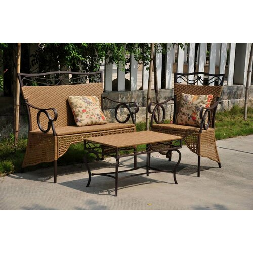 International Caravan Valencia 3 Piece Patio Lounge Seating Group