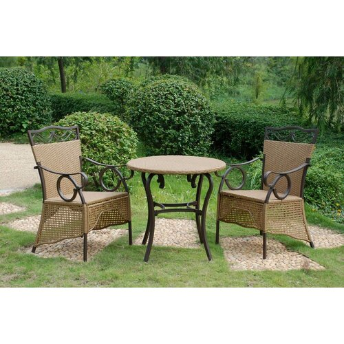 International Caravan Valencia 3 Piece Skirted Bistro Set