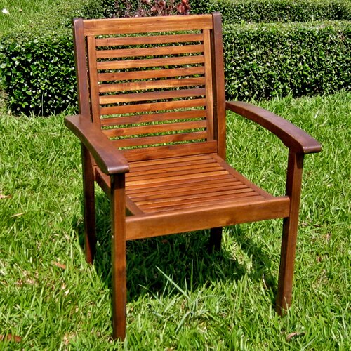 International Caravan Acacia Patio Contemporary Dining Arm Chair