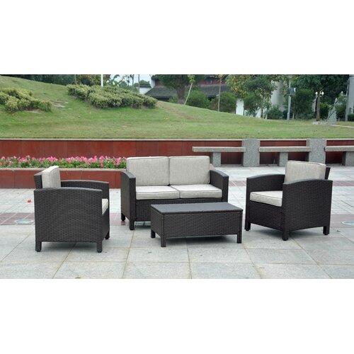 International Caravan St. Maarten 4-Piece Wicker Resin Outdoor Seating Group with Cushions