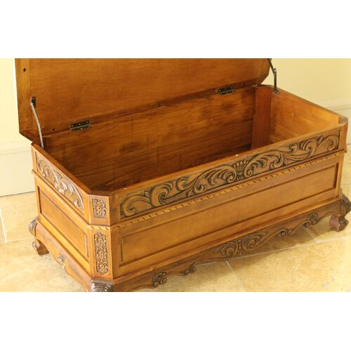 International Caravan Windsor Hand Carved Storage Bedroom Bench
