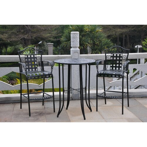 International Caravan Mandalay 3-Piece Wrought Iron Bar Heigh Bistro Patio Set