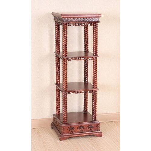 International Caravan Windsor Hand Carved Wood 4-Tier Display Cabinet