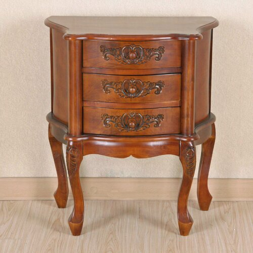 Windsor Hand Carved 3-Drawer Night Stand