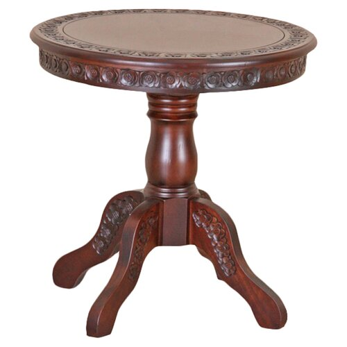 International Caravan Windsor Hand Carved Wood End Table