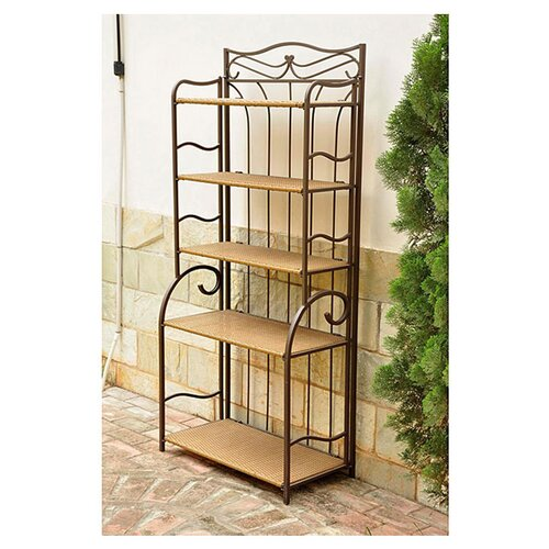 International Caravan Valencia 5-Tier Wicker Resin Outdoor Bakers Rack
