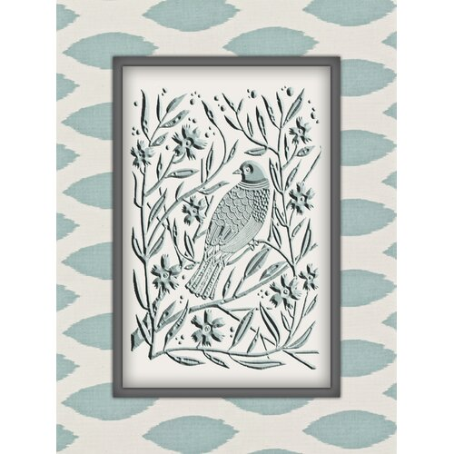 Obvious Place Beveled Blue Birds Graphic Art on Canvas
