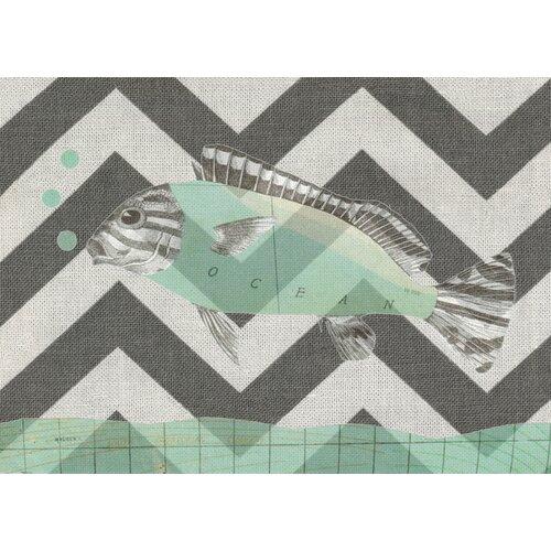 Sage Fish Gray Chevron Graphic Art on Canvas